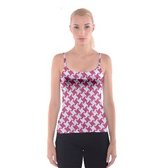 HOUNDSTOOTH2 WHITE MARBLE & PINK DENIM Spaghetti Strap Top