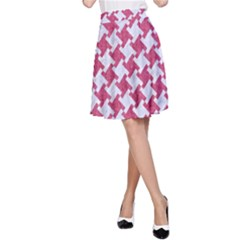 Houndstooth2 White Marble & Pink Denim A Line Skirt