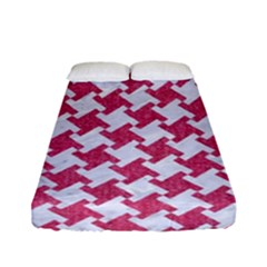 HOUNDSTOOTH2 WHITE MARBLE & PINK DENIM Fitted Sheet (Full/ Double Size)