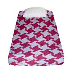 HOUNDSTOOTH2 WHITE MARBLE & PINK DENIM Fitted Sheet (Single Size)