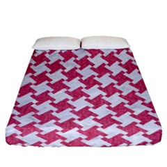 Houndstooth2 White Marble & Pink Denim Fitted Sheet (queen Size)