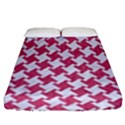 HOUNDSTOOTH2 WHITE MARBLE & PINK DENIM Fitted Sheet (Queen Size) View1