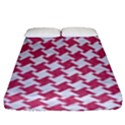 HOUNDSTOOTH2 WHITE MARBLE & PINK DENIM Fitted Sheet (King Size) View1