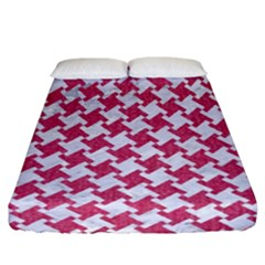 HOUNDSTOOTH2 WHITE MARBLE & PINK DENIM Fitted Sheet (California King Size)