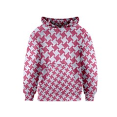HOUNDSTOOTH2 WHITE MARBLE & PINK DENIM Kids  Pullover Hoodie