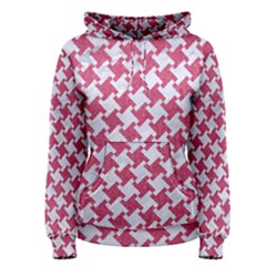 HOUNDSTOOTH2 WHITE MARBLE & PINK DENIM Women s Pullover Hoodie