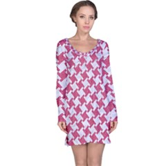 Houndstooth2 White Marble & Pink Denim Long Sleeve Nightdress