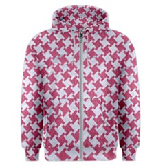 Houndstooth2 White Marble & Pink Denim Men s Zipper Hoodie