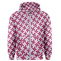 HOUNDSTOOTH2 WHITE MARBLE & PINK DENIM Men s Zipper Hoodie View1