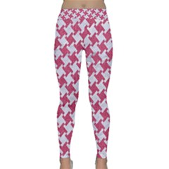 HOUNDSTOOTH2 WHITE MARBLE & PINK DENIM Classic Yoga Leggings