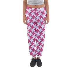 HOUNDSTOOTH2 WHITE MARBLE & PINK DENIM Women s Jogger Sweatpants