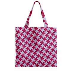Houndstooth2 White Marble & Pink Denim Zipper Grocery Tote Bag by trendistuff