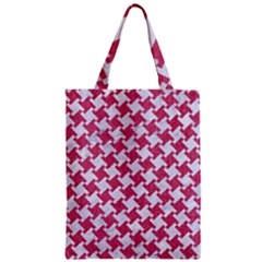 HOUNDSTOOTH2 WHITE MARBLE & PINK DENIM Zipper Classic Tote Bag