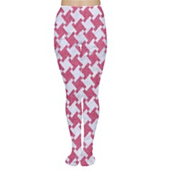 HOUNDSTOOTH2 WHITE MARBLE & PINK DENIM Women s Tights