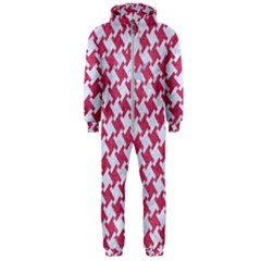 Houndstooth2 White Marble & Pink Denim Hooded Jumpsuit (men)