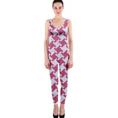 Houndstooth2 White Marble & Pink Denim One Piece Catsuit