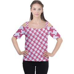 HOUNDSTOOTH2 WHITE MARBLE & PINK DENIM Cutout Shoulder Tee