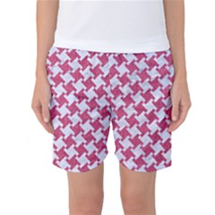 HOUNDSTOOTH2 WHITE MARBLE & PINK DENIM Women s Basketball Shorts