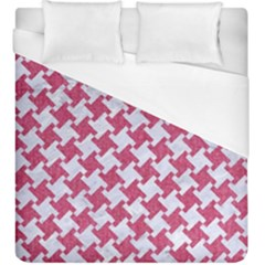HOUNDSTOOTH2 WHITE MARBLE & PINK DENIM Duvet Cover (King Size)