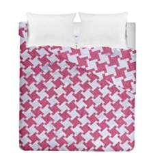 Houndstooth2 White Marble & Pink Denim Duvet Cover Double Side (full/ Double Size)