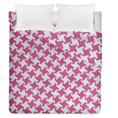 HOUNDSTOOTH2 WHITE MARBLE & PINK DENIM Duvet Cover Double Side (Queen Size)