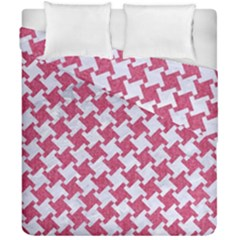 HOUNDSTOOTH2 WHITE MARBLE & PINK DENIM Duvet Cover Double Side (California King Size)