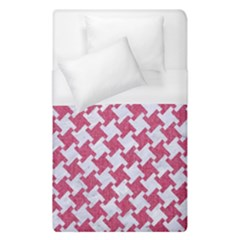HOUNDSTOOTH2 WHITE MARBLE & PINK DENIM Duvet Cover (Single Size)