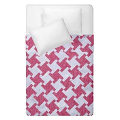HOUNDSTOOTH2 WHITE MARBLE & PINK DENIM Duvet Cover Double Side (Single Size)