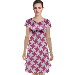 Houndstooth2 White Marble & Pink Denim Cap Sleeve Nightdress