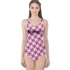 Houndstooth2 White Marble & Pink Denim One Piece Swimsuit