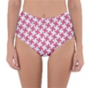 HOUNDSTOOTH2 WHITE MARBLE & PINK DENIM Reversible High-Waist Bikini Bottoms View1