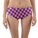 HOUNDSTOOTH2 WHITE MARBLE & PINK DENIM Reversible Mid-Waist Bikini Bottoms View1