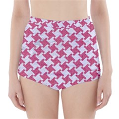 HOUNDSTOOTH2 WHITE MARBLE & PINK DENIM High-Waisted Bikini Bottoms