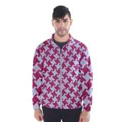 Houndstooth2 White Marble & Pink Denim Windbreaker (men)