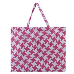 Houndstooth2 White Marble & Pink Denim Zipper Large Tote Bag