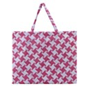HOUNDSTOOTH2 WHITE MARBLE & PINK DENIM Zipper Large Tote Bag View1