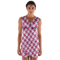 HOUNDSTOOTH2 WHITE MARBLE & PINK DENIM Wrap Front Bodycon Dress