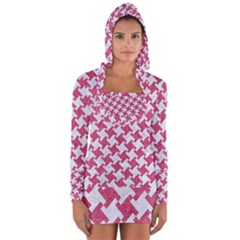 Houndstooth2 White Marble & Pink Denim Long Sleeve Hooded T Shirt