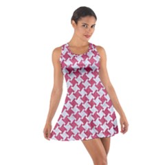 HOUNDSTOOTH2 WHITE MARBLE & PINK DENIM Cotton Racerback Dress