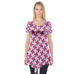 HOUNDSTOOTH2 WHITE MARBLE & PINK DENIM Short Sleeve Tunic