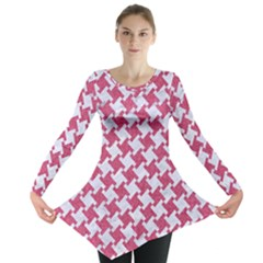 HOUNDSTOOTH2 WHITE MARBLE & PINK DENIM Long Sleeve Tunic
