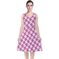 Houndstooth2 White Marble & Pink Denim V Neck Midi Sleeveless Dress