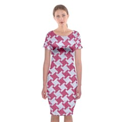 HOUNDSTOOTH2 WHITE MARBLE & PINK DENIM Classic Short Sleeve Midi Dress
