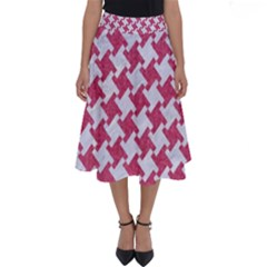 HOUNDSTOOTH2 WHITE MARBLE & PINK DENIM Perfect Length Midi Skirt