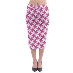 Houndstooth2 White Marble & Pink Denim Midi Pencil Skirt