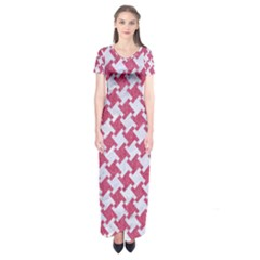 Houndstooth2 White Marble & Pink Denim Short Sleeve Maxi Dress