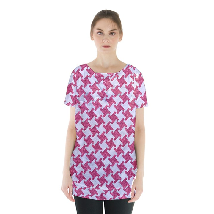HOUNDSTOOTH2 WHITE MARBLE & PINK DENIM Skirt Hem Sports Top
