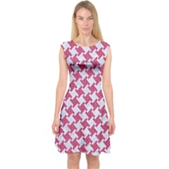 HOUNDSTOOTH2 WHITE MARBLE & PINK DENIM Capsleeve Midi Dress