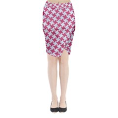 Houndstooth2 White Marble & Pink Denim Midi Wrap Pencil Skirt by trendistuff
