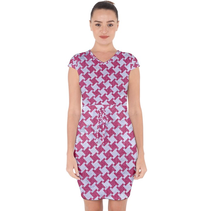 HOUNDSTOOTH2 WHITE MARBLE & PINK DENIM Capsleeve Drawstring Dress